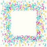 Tutte le lettere dell'alfabeto ebraico, ABC ebreo modellano, fondo variopinto per il modello della cartolina d'auguri dei bambini illustrazione di stock