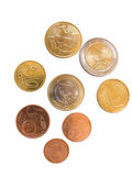 Tutte le monete dell'euro Fotografia Stock Libera da Diritti