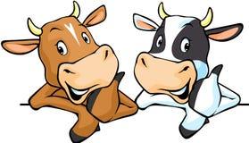 Tutte le mucche raccomandano con il pollice su - intimorisca l'illustrazione di vettore Fotografie Stock