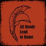 Tutte le strade conducono alla citazione di Roma Schizzo di vettore del gladiatore del guerriero di Roman Helmet Greek Fotografie Stock Libere da Diritti