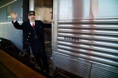 Tutti a bordo del treno di truppa Fotografia Stock