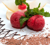 Tutti-frutti. Colored ice cream with fruit on a white plate with chocolate Royalty Free Stock Photography