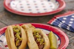 Tutti gli hot dog arrostiti americani ad un BBQ patriottico di festa Fotografia Stock Libera da Diritti