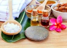 Tutti gli ingredienti tailandesi di cura di pelle Fotografia Stock