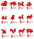 Tutti gli zodiaci cinesi Fotografia Stock Libera da Diritti