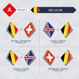 Tutti i giochi del Belgio nella lega di nazioni di calcio illustrazione di stock