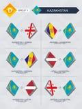 Tutti i giochi del Kazakistan nella lega di nazioni di calcio illustrazione vettoriale