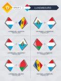 Tutti i giochi del Lussemburgo nella lega di nazioni di calcio illustrazione di stock