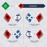 Tutti i giochi dell'Albania nella lega di nazioni di calcio illustrazione di stock