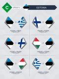 Tutti i giochi dell'Estonia nella lega di nazioni di calcio illustrazione vettoriale