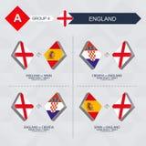 Tutti i giochi dell'Inghilterra nella lega di nazioni di calcio illustrazione vettoriale