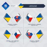 Tutti i giochi dell'Ucraina nella lega di nazioni di calcio illustrazione vettoriale