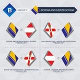 Tutti i giochi della Bosnia-Erzegovina nella lega di nazioni di calcio illustrazione vettoriale
