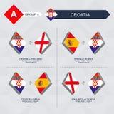 Tutti i giochi della Croazia nella lega di nazioni di calcio illustrazione di stock