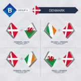 Tutti i giochi della Danimarca nella lega di nazioni di calcio illustrazione di stock