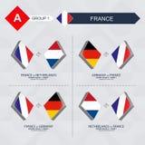 Tutti i giochi della Francia nella lega di nazioni di calcio illustrazione vettoriale