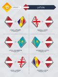Tutti i giochi della Lettonia nella lega di nazioni di calcio illustrazione di stock