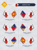 Tutti i giochi della Macedonia nella lega di nazioni di calcio royalty illustrazione gratis