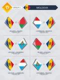 Tutti i giochi della Moldavia nella lega di nazioni di calcio illustrazione di stock