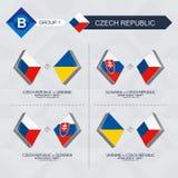Tutti i giochi della repubblica Ceca nella lega di nazioni di calcio illustrazione vettoriale