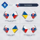 Tutti i giochi della Slovacchia nella lega di nazioni di calcio illustrazione vettoriale