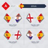 Tutti i giochi della Spagna nella lega di nazioni di calcio illustrazione vettoriale