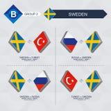 Tutti i giochi della Svezia nella lega di nazioni di calcio illustrazione di stock