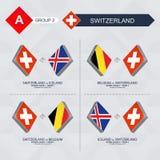 Tutti i giochi della Svizzera nella lega di nazioni di calcio illustrazione vettoriale
