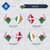 Tutti i giochi di Galles nella lega di nazioni di calcio illustrazione vettoriale