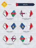 Tutti i giochi di Malta nella lega di nazioni di calcio illustrazione vettoriale
