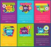 Tutti i prodotti 90 etichette finali assolute totali di vendita illustrazione vettoriale