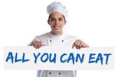 Tutti potete mangiare il buffet che mangiate il cuoco dell'alimento del ristorante della cena del pranzo Immagini Stock