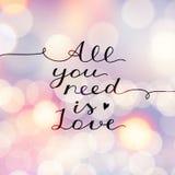 Tutto che abbiate bisogno di è amore Fotografia Stock Libera da Diritti