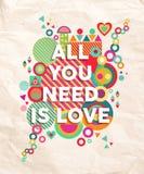 Tutto che abbiate bisogno di è fondo del manifesto di citazione di amore Fotografie Stock Libere da Diritti