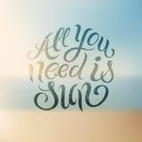 Tutto che abbiate bisogno di è Sun Progettazione calligrafica di vettore di estate con fondo confuso ENV 10 Immagine Stock Libera da Diritti