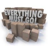 Tutto deve andare scatole rifornisce in quantità eccessiva la vendita di chiusura del deposito di inventario royalty illustrazione gratis