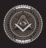 Tutto il colore vedente di logo 2 di vettore del distintivo dell'emblema dell'occhio Fotografie Stock Libere da Diritti