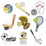 Tutto il fumetto stabilito dell'icona di sport Immagine Stock Libera da Diritti