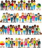 Tutto il gruppo d'età dell'afroamericano, gente europea Le generazioni equipaggiano e donna royalty illustrazione gratis
