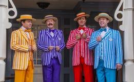 Tutto il quartetto maschio del parrucchiere canta a Disneyland fotografia stock libera da diritti