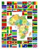 Tutto l'Africano inbandiera l'insieme completo ed è mappa Immagini Stock