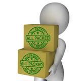Tutto l'imballaggio medio imballato del prodotto delle scatole Fotografia Stock