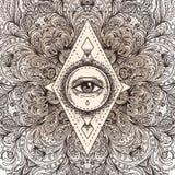 Tutto l'occhio vedente nel modello rotondo decorato della mandala Mistico, alchemia, illustrazione di stock