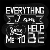 Tutto sono voi mi aiuto ad essere manifesto strutturato dell'iscrizione di tipografia Fotografia Stock Libera da Diritti