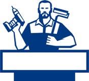 Tuttofare Bearded Cordless Drill Paintroller retro illustrazione vettoriale