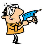 Tuttofare del fumetto con il trivello e gli occhiali di protezione Fotografia Stock