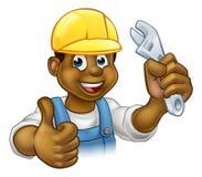 Tuttofare Mechanic o idraulico con la chiave Immagini Stock Libere da Diritti