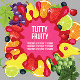 Tutty fruity template. Card or design template mixed fruit theme Royalty Free Stock Photo