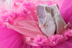 Tutu and ballet shoes. The cute dance gear of a little ballerina girl including pink velvet ballet slippers and a tutu dress royalty free stock photo