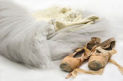 Tutu with ballet shoes royalty free stock images